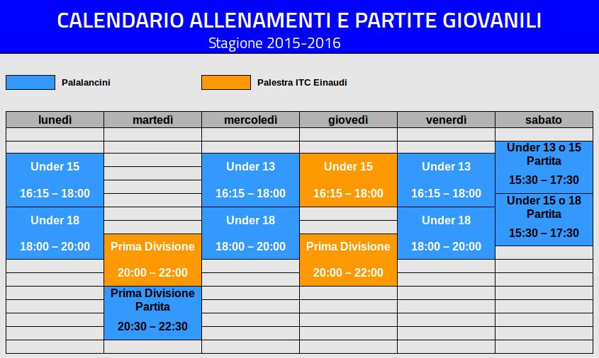 Calendario allenamenti e partite giovanili